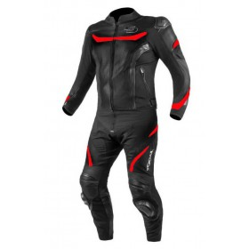 TSCHUL 875 textílno-kožená športová kombinéza čierno-červená FLUO