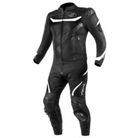TSCHUL 875 textílno-kožená športová kombinéza čierno-biela