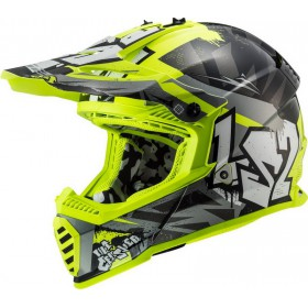 Prilba LS2 MX437 FAST EVO CRUSHER black H-V yellow