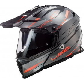 Prilba LS2 MX436 PIONEER EVO KNIGHT titanium fluo orange