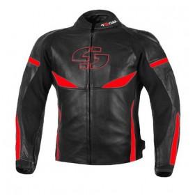 TSCHUL 890 kožená športová bunda čierno-červená