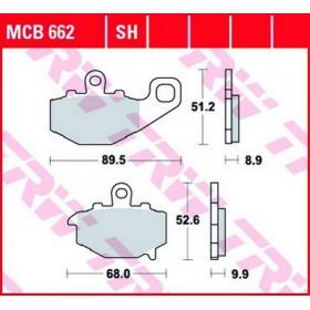 MCB662 TRW zadné brzdové doštičky