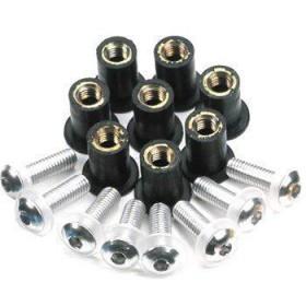 Ozdobné skrutky M5 na plexi v gumenom púzdre s maticou, čierne 8ks