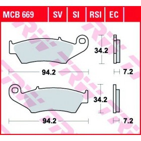 MCB669 TRW predné brzdové doštičky
