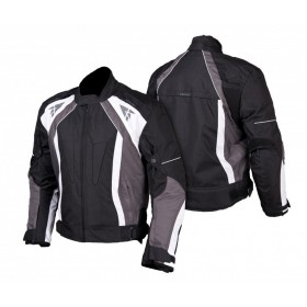 L&J KTM011 pánska textílna bunda čierno-bielo-šedá