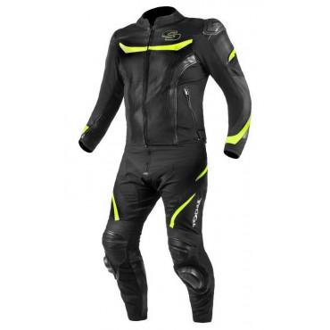 TSCHUL 875 textílno-kožená športová kombinéza - FLUO