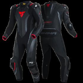 SHIMA APEX RS BLACK RED pánska jednodielna kožená kombinéza na motorku