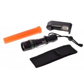 Taktická CREE LED ZOOM ALU baterka s výstražným kužeľom, nabíjateľná