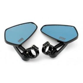 HEBE BAR END univerzálne spätné zrkadlá na krátkej stopke s montážou na koniec riadítok, modré sklíčka
