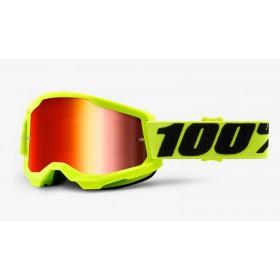 100 PERCENT STRATA 2 FLUO YELLOW - MIRROR RED LENS motokrosové okuliare