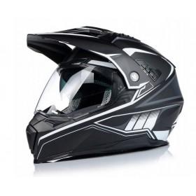 NAXA CO3/J enduro ATV prilba s 3D clonou - matná čierno biela