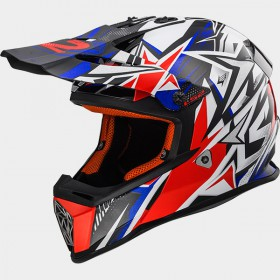 Motokrosová prilba LS2 MX437 FAST STRONG white blue red