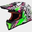 Motokrosová prilba LS2 MX437 FAST STRONG white green pink