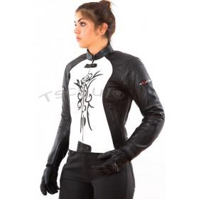 TSCHUL 838 black-white dámska kožená bunda
